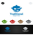 traditional food logo for restaurant or cafe vector image vector image