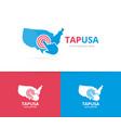 usa and click logo combination america vector image vector image