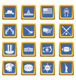 usa icons set blue vector image vector image