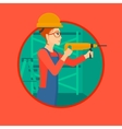 Worker with hammer drill vector image vector image