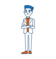 young businessman standing with folded arms suit vector image vector image