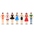 people set collection with young women characters vector image