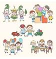 Childrens in kinder garden hand drawn vector image
