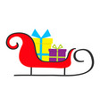 santa claus sleigh with gift box set merry vector image