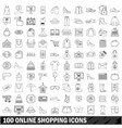 100 online shopping icons set outline style vector image vector image