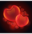 3D glossy hearts vector image
