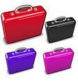 a set briefcases in different colors isolated vector image vector image