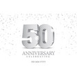 anniversary 50 silver 3d numbers vector image vector image