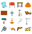 Architecture icons set flat style vector image