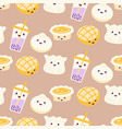 asian street food cartoon pattern with egg vector image vector image
