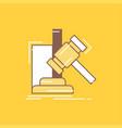 auction gavel hammer judgement law flat line vector image