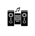 audio system black icon sign on isolated vector image vector image
