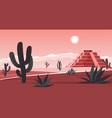 aztec altar pyramid in wild landscape in mexico vector image