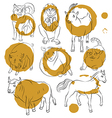 Bull cat dog goat horse monkey pig sheep vector image vector image
