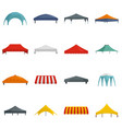 canopy shed overhang icons set flat style vector image vector image