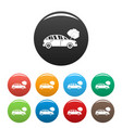 car in smoke icons set color vector image vector image