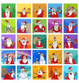 cartoon christmas characters set or pattern design vector image