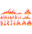 cartoon fire flames fireball flame red hot fire vector image