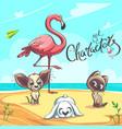 characters set flamingo puppy kitten vector image vector image