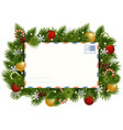 christmas fir branches with postcard vector image vector image