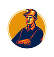 Coal Miner Arms Folded Retro vector image