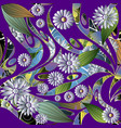 colorful floral 3d chamomiles seamless pattern vector image