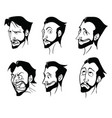 contour drawings of the emotions of a bearded man vector image