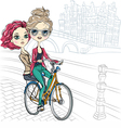 Cute beautiful fashionable girls ride a bike in Am vector image vector image