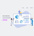 data analysis web banner with people analysing vector image vector image