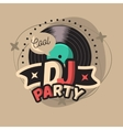 DJ Cool Party Poster Design With Vinyl Record vector image vector image