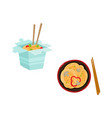 flat asian udon noodles icon set vector image vector image