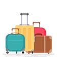 flat of various suitcases on a white background vector image vector image