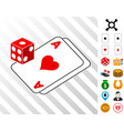 gambling dice and cards icon with bonus vector image