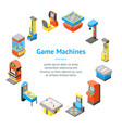 game machine 3d banner card circle isometric view vector image vector image