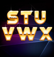 golden shiny alphabet form s to x vector image vector image