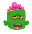 green zombie head with brains vector image