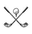 hand drawing drawn golf ball and golf sticks vector image