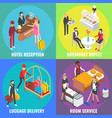 hotel service concept flat isometric poster vector image vector image