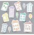 Houses doodles on white background vector image vector image