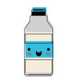 kawaii milk bottle in watercolor silhouette vector image vector image