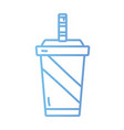 line delicious soda with plastic cup vector image vector image