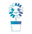 line kawaii cute happy flower vector image vector image