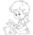 little girl and her small rabbit vector image vector image