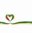 mozambique flag heart-shaped ribbon vector image vector image