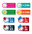 one pill two pills per day colorful sign vector image vector image