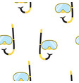 pattern yellow diving snorkel mask tube vector image