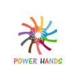power hands people teamwork helping hands vector image vector image