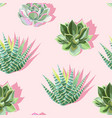 seamless pattern with succulent on pink background vector image vector image