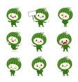 set cute watermelon cartoon characters vector image vector image