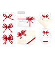Set of ribbon tied bows for gift card vector image